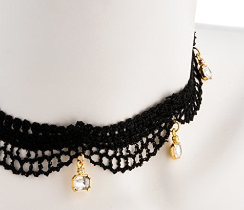 Black Lace Choker With Dangling Rhinestones And Adjustable Closer