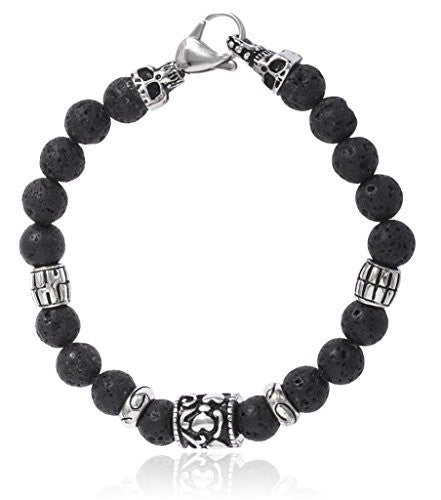 Black Lava Beaded Bracelet With Stainless Steel Skull Or Heart Charm Bead