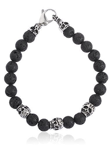Black Lava Beaded Bracelet With Stainless...