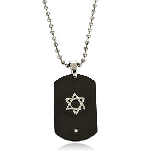Black PVD Dog Tag With Star Of David And CZ Pendant With A 24 Inch 3mm Bead Necklace