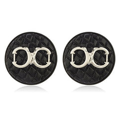 Black Quilted Circle Shape With Silvertone Enamel Handcuff Stud Earrings