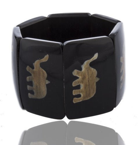 Black Simulated Buffalo Horn Stretch Bracelet With Elephant Design