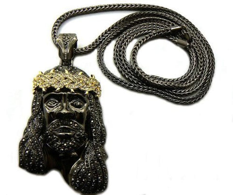 Black With Goldtone And Clear Crowned Iced Out Jesus Piece Pendant With A 36 Inch Franco Chain