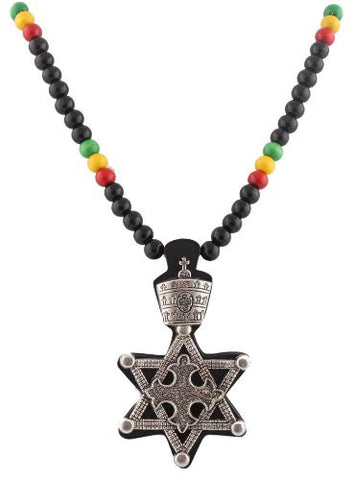 Black With Silvertone And Multicolors Wooden Rasta Star Of David Pendant And 36 Inch Necklace Chain