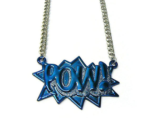 Blue With Silvertone Zinc Pow! Pendant With A 36 Inch Link Chain Necklace