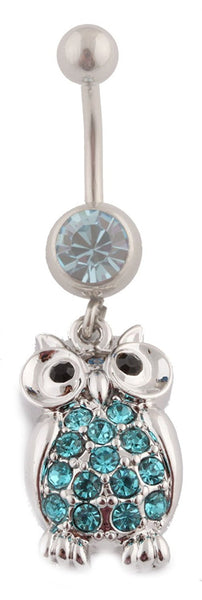Iced Out Owl with Stones Belly Ring