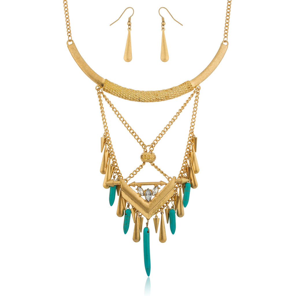 Bohemian Design Goldtone With Turquoise Daggers...