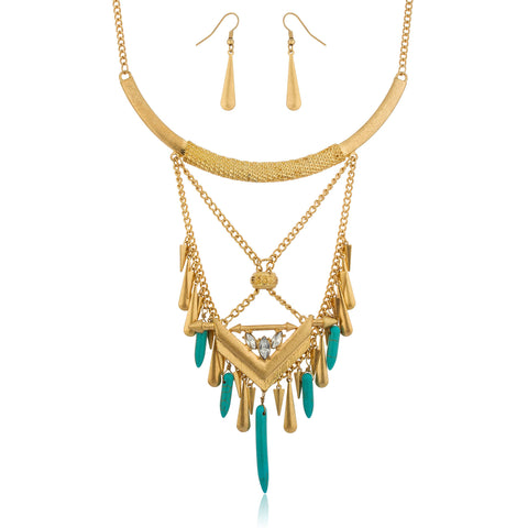 Bohemian Design Goldtone With Turquoise Daggers 20 Inch Adjustable Necklace And Earrings Jewelry Set