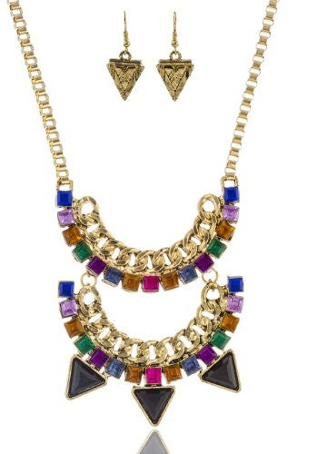 Bohemian Goldtone With Black And Multi 18 Inch Adjustable Double Row Necklace And Earrings Jewelry Set