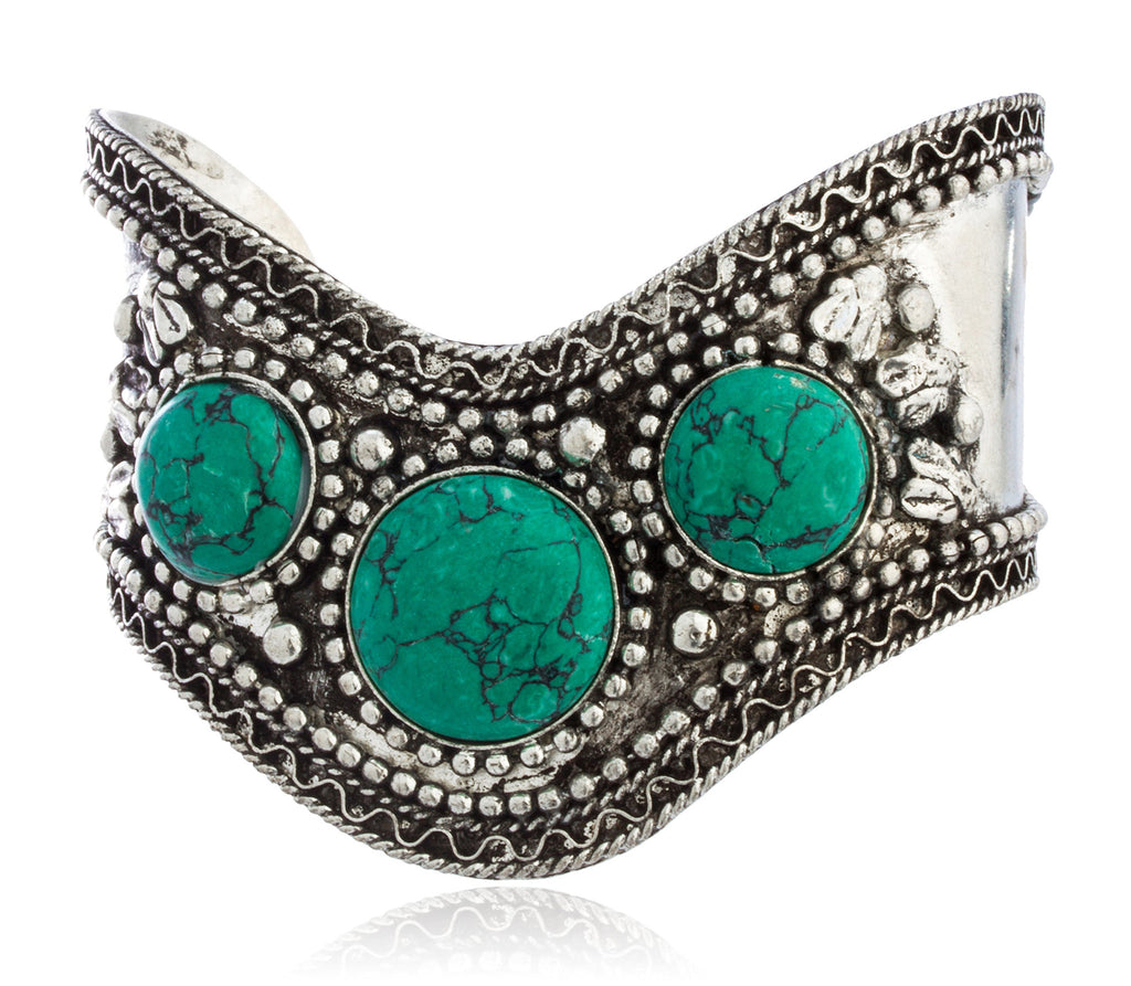 Brass And Turquoise Adjustable Cuff Bracelet...