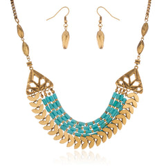 Brass With Turquoise Antique Design Adjustable 18 Inch Box Chain Necklace With Matching Earrings Set