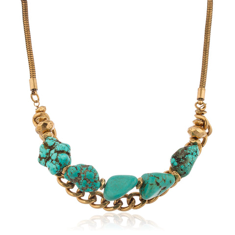 Brass With Turquoise Stone And Hanging Chain Adjustable 18 Inch Snake Necklace