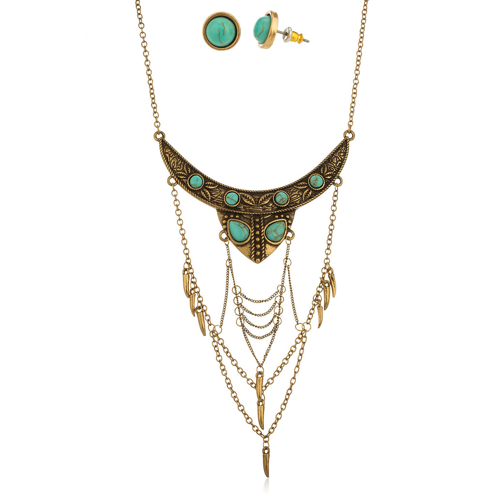 Bronze Antique Turquoise Breastplate Necklace With...
