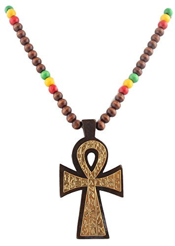 Brown With Gold And Multicolors Wooden Rasta Ankh Hieroglyph Pendant And 36 Inch Necklace Chain