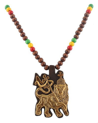 Brown With Goldtone And Multicolors Wooden Rasta Lion Of Judah Pendant And 36 Inch Necklace Chain