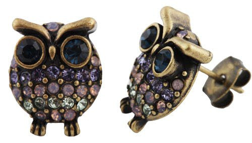 Brushed Goldtone With Multicolors Iced Out Mini Owl Stud Earrings
