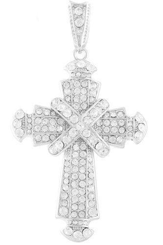 Silvertone with Clear Iced Out Center Wrapped Cross Pendant