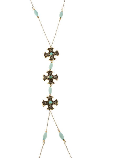 Center Dangling Patte Cross With Blue Beads Body Chain
