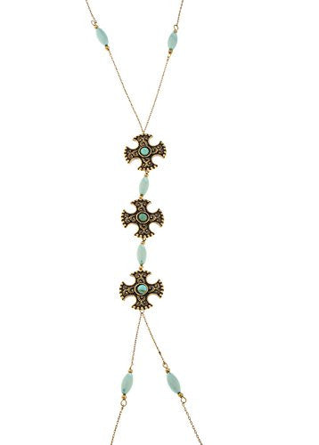 Center Dangling Patte Cross With Blue...