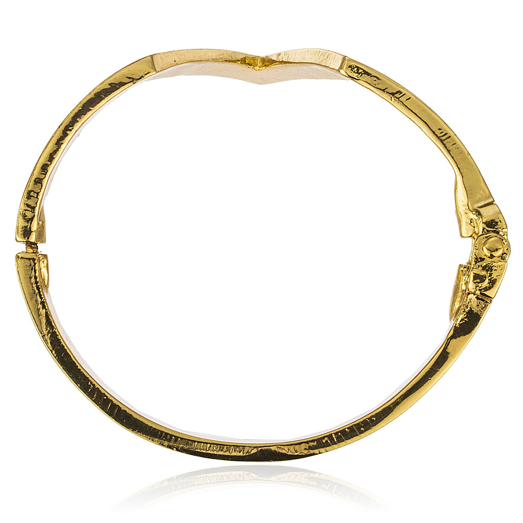 Chevron Metal Bangle Bracelet (Goldtone)