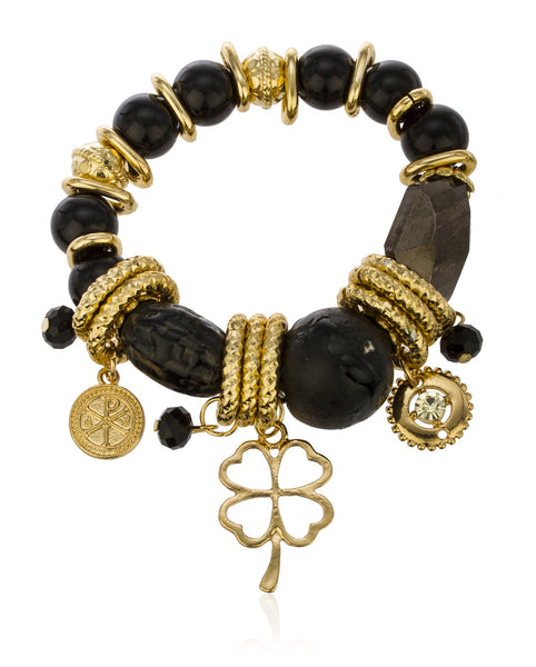 Chunky Charms And Beaded Elastic Bracelet (Goldtone W/ Black)
