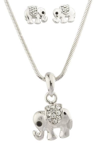 Colored Rhinestone Elephant Pendant With 16 Inch Snake Chain Necklace And Earrings Matching Jewelry Set (Clear)