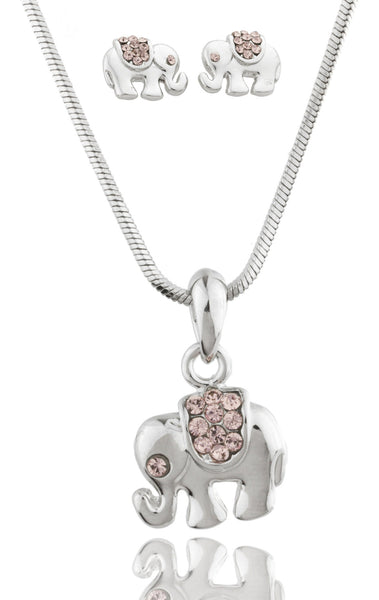 Colored Rhinestone Elephant Pendant With 16 Inch Snake Chain Necklace And Earrings Matching Jewelry Set (Light Pink)