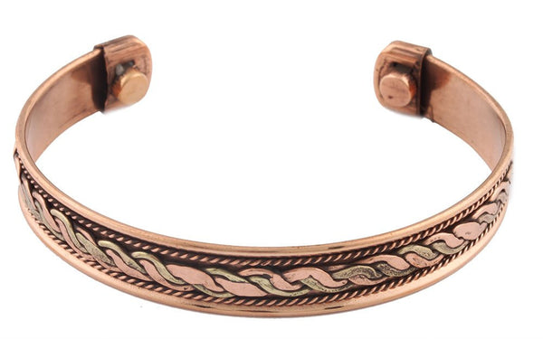 Copper With Goldtone Double Rope Chain With Centered Design Adjustable Magnetic Bangle Bracelet