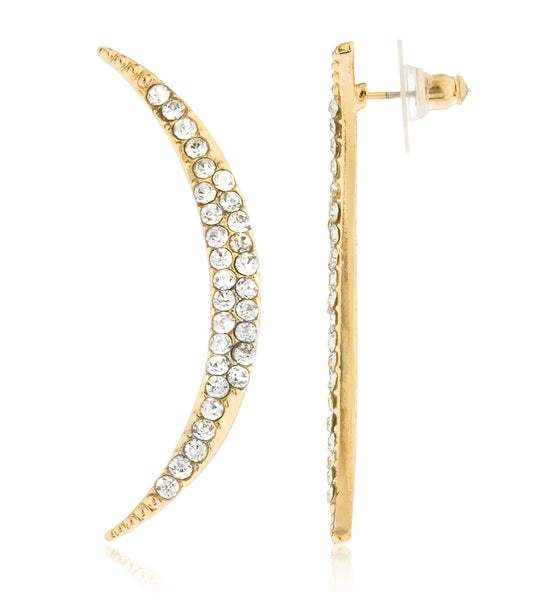 Crescent Shape Stud Earrings With Stones - Available In Goldtone And Silvertone (Goldtone)
