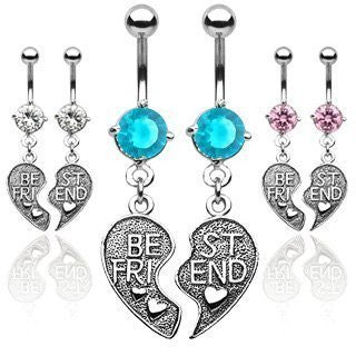 Cubic Zirconia Best Friends Belly Rings