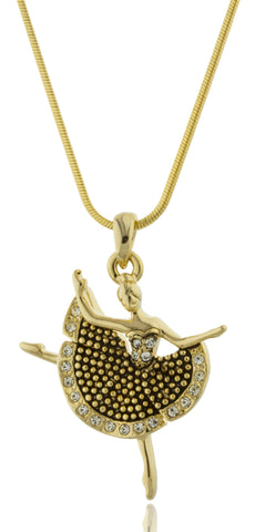 Dancing Ballerina Pendant With A 16 Inch Snake Necklace (Goldtone/Black)