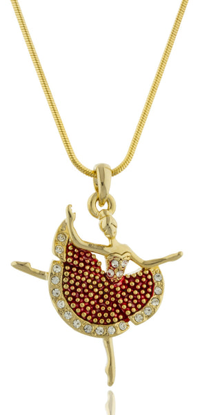 Dancing Ballerina Pendant With A 16 Inch Snake Necklace (Goldtone/Red)