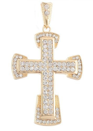 Goldtone with Clear Iced Out Curved Ends Cross Pendant