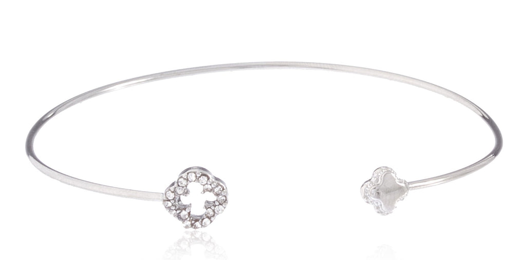 Delicate Cuff Bangle With Clover Charms...