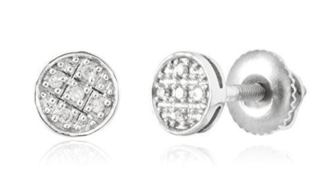 Diamond Collection - 10k White Gold 0.06 Cttw Diamond Round Screw Back Stud Earrings