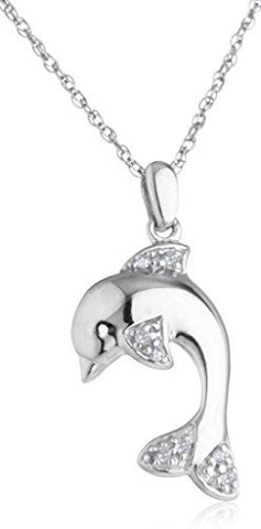 Diamond Collection - 925 Sterling Silver 1/20 Cttw Diamond Dolphin Pendant With An 18 Inch Singapore Necklace