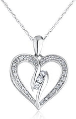 Diamond Collection - 925 Sterling Silver 1/3 Cttw Diamond Heart Pendant With Elegant Design 18 Inch Singapore Necklace