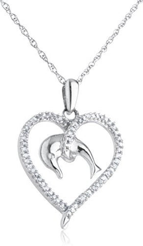 Diamond Collection - 925 Sterling Silver 1/4 Cttw Diamond Love For Dolphins Pendant With An 18 Inch Singapore Necklace