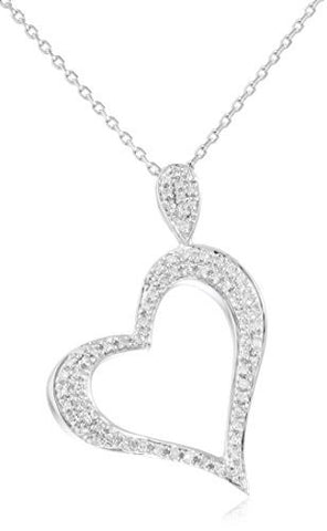 Diamond Collection - Real 14k White Gold 0.21 Cttw Diamond Slanted Heart Pendant With A Silver 18 Inch Necklace