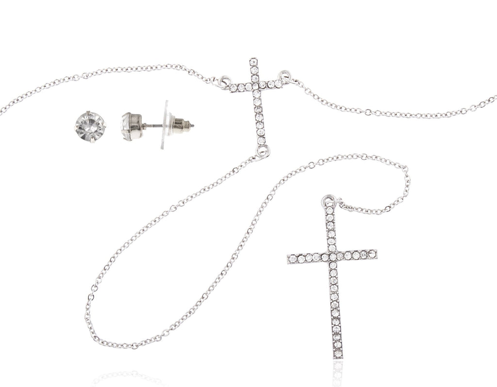 Double Cross Extended Necklace With Clear...