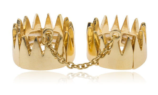 Double Crown With Attaching Chain Finger Ring (Goldtone)