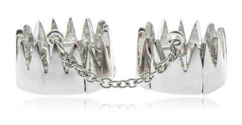Double Crown With Attaching Chain Finger Ring (Silvertone)