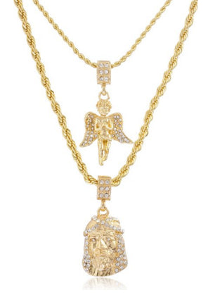 Double Layer Necklace With Iced Out Angel And Jesus Pendants 22-28 Inch Rope Chain Necklace - Goldtone Or Silvertone (Goldtone)