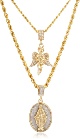 Double Layer Necklace With Iced Out Angel And Sandblast Mother Mary Oval Pendants 22-28 Inch Rope Chain Necklace - Goldtone Or Silvertone (Goldtone)