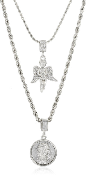 Double Layer Necklace With Iced Out Angel And Sandblast Round Jesus Head Pendants 22-28 Inch Rope Chain Necklace - Goldtone Or Silvertone (Silvertone)