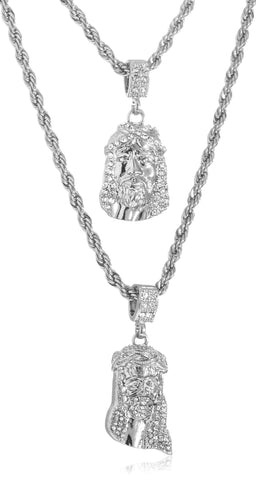 Double Layer Necklace With Iced Out Jesus Pendants 24-28 Inch Rope Chain Necklace (Silvertone)