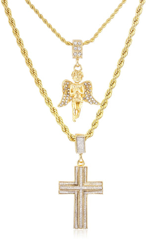 Double Layer Necklace With Sandblast Double Cross And Angel Pendants 22-28 Inch Rope Chain Necklace (Goldtone)