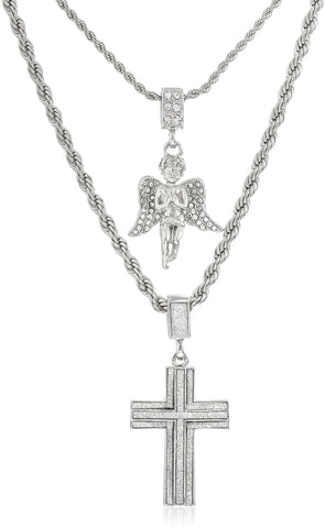 Double Layer Necklace With Sandblast Double Cross And Angel Pendants 22-28 Inch Rope Chain Necklace (Silvertone)