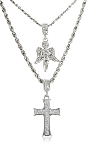 Double Layer Necklace With Sandblast Large Cross And Angel Pendants 22-28 Inch Rope Chain Necklace (Silvertone)