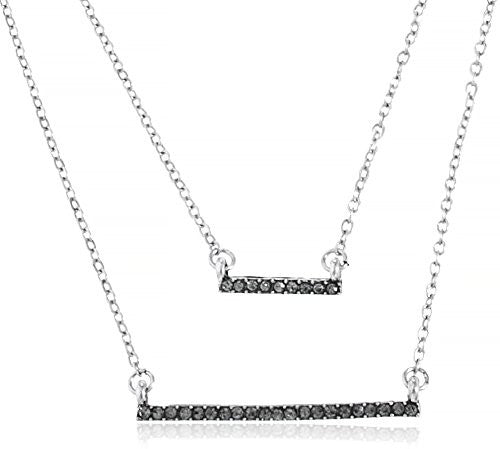 Double Layred Dangling Iced Out Bar Chain Necklace Jewelry Set (Silvertone)